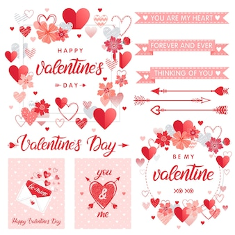 Set of creative valentines day cards and elements.