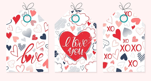 Set of creative valentines day cards.