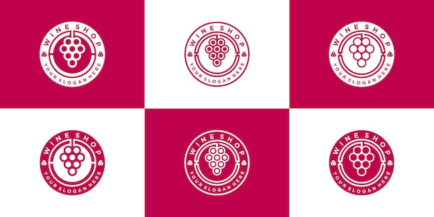 Set of creative wine shop logo design collection with circular emblem line art style premium vector
