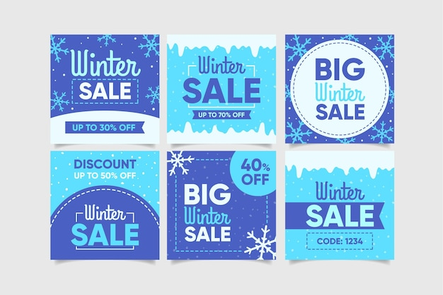 Set of creative winter sales posts