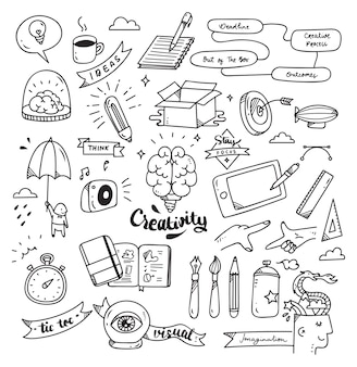 Set of creativity doodle isolated on white background