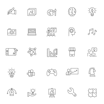 Set of creativity icons with simple outline
