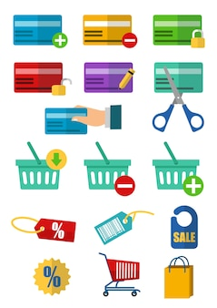 Set of credit card icon with many element in business