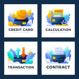 セットクレジットカードストックイラストi。電卓、送金、ドキュメント、マネーコイン