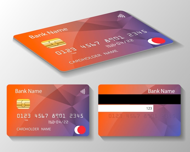Set of credit or debit card template