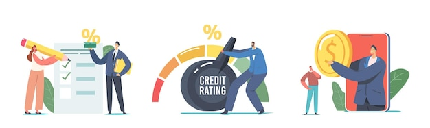 Set credit score rating based on debt reports showing creditworthiness or risk of individuals for loan, mortgage and payment. bank evaluate characters for credit. cartoon people vector illustration