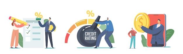 ローン、住宅ローン、および支払いに対する個人の信用力またはリスクを示す債務レポートに基づいて、クレジットスコアの格付けを設定します。銀行はクレジットのためにキャラクターを評価します。漫画の人々のベクトル図