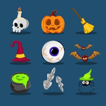 Set of creepy halloween character flat design scary pumpkin skull spider bat