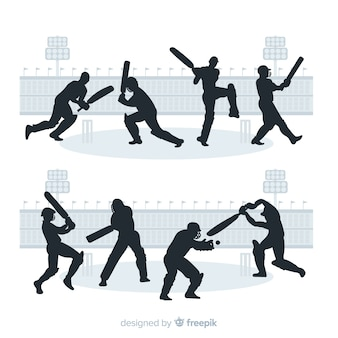 Set of cricket players with silhouette style