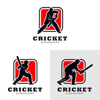 Set of cricket sport logo template design