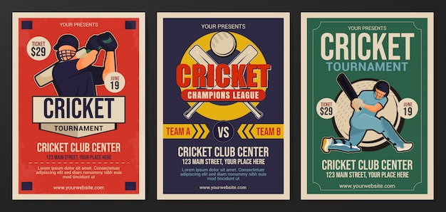 Set of cricket tournament flyer template