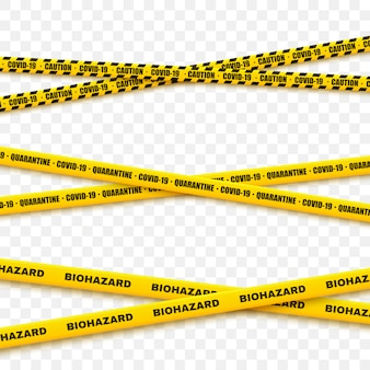 A set of criminal tapes for restrictive and dangerous zones. security line warning.