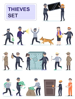 Set of criminals in different poses.