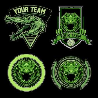 Set of crocodile sport logo