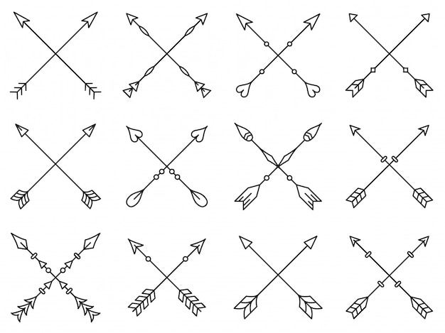 Set of crossed arrows