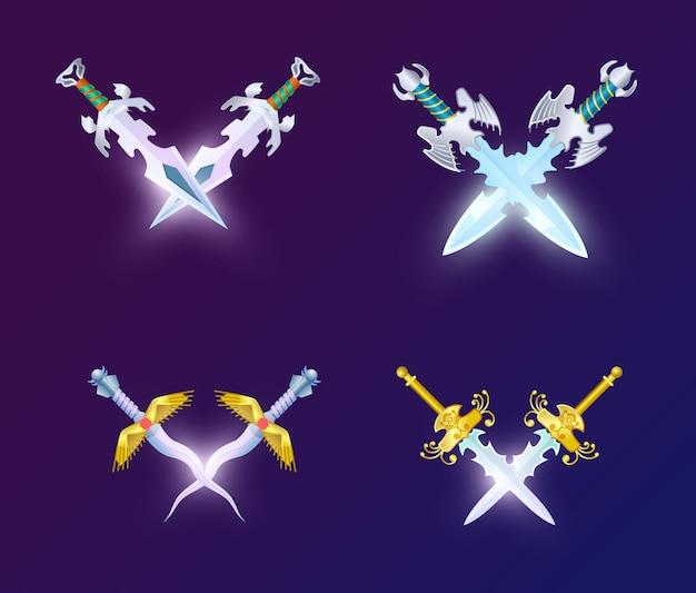 Set of crossed magic weapon