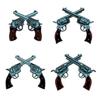 Set of crossed revolvers on white background.  elements for poster, emblem, sign.  illustration