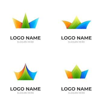 Set crown logo and 3d colorful , king icons