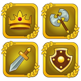 Set of crown, wooden shield, sword and axe