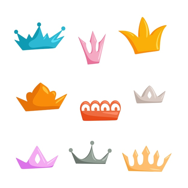 A set of crowns of different colors a collection of icons with a crown for winners champions