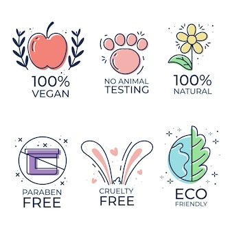 Set di badge cruelty free illustrati