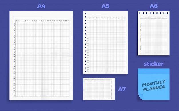Set of crumpled four standart blank montly planner series a format paper