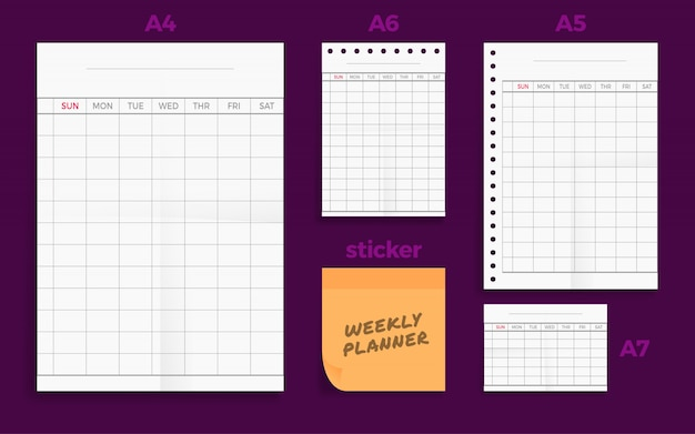 Set of crumpled four standart blank weekly planner series a format paper