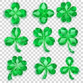 Set of crystal clover leaves in green colors with shadows on transparent