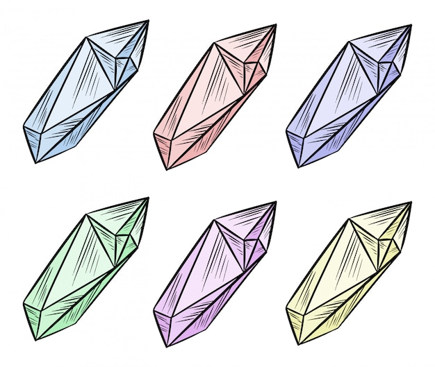 Set of crystal doodle image. cartoon style colorful gems. media highlights graphic symbols collection