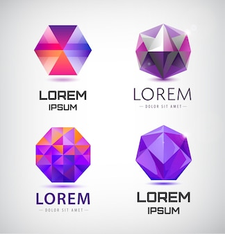 Set of crystal, faceted logos, 3d abstract logos gem jewellery logos, identity icons