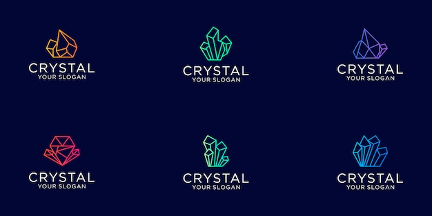 Set of crystal gems diamond line art with gradient color jewelry logo