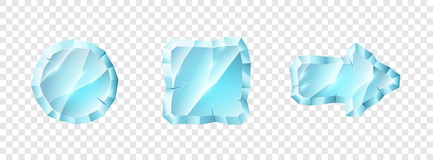 Set of crystal media player button icons. play and pause buttons for video audio player application user interface isolated on transparent background. vector illustration