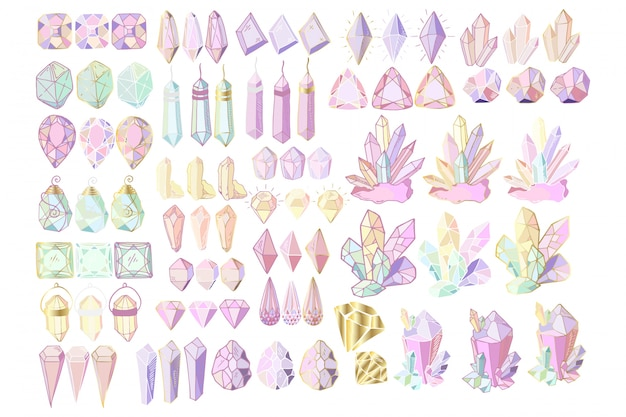 Set of crystals
