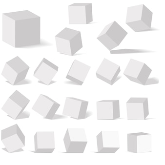 A set of cube icons with a perspective 3d cube model with a shad