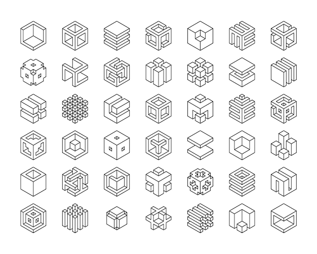 Set cubes  icon. cube logo template