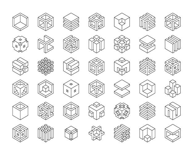 Установите значок кубов. шаблон логотипа куб