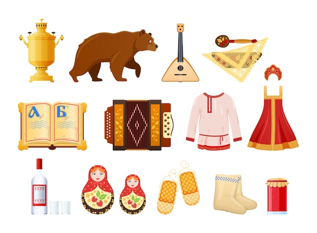 Set cultural russian traditional objects