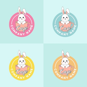 Set of cup of coffee with cute white rabbit logo template for cafe in blue tosca background