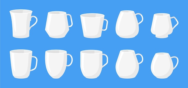 Set of cup container different type classic white set flat cartoon
