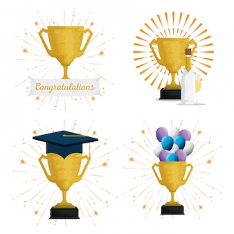 Set cup prize with graduation cap and balloons