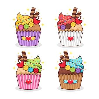 Set of cupcake cartoon illustration