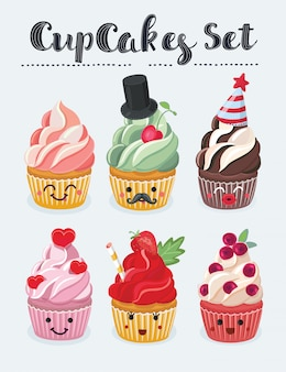 Set of cupcake emojis icons. different emotions smiling faces, illustration