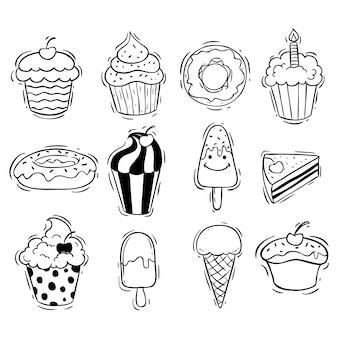 Set of cupcake ice cream and donut with doodle style