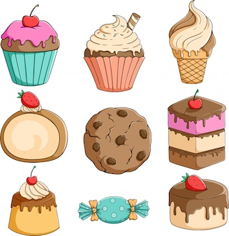 Set of cupcake, ice cream and pudding with colorful hand drawn style