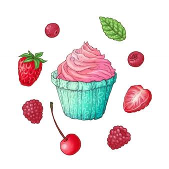 Set cupcake raspberry strawberry cherry