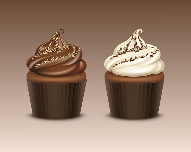 Set of cupcake with chocolate whipped cream