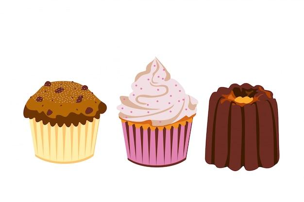 Установите кексы и пирожные на белом фоне. иконки. , сладкая выпечка иллюстрации.