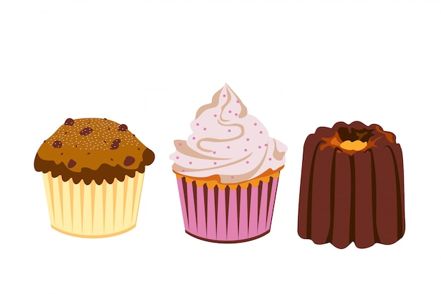 Set cupcakes and cakes on a white background. icons. . sweet pastries  illustration.