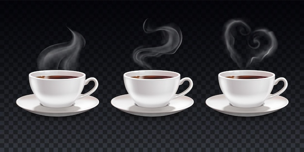 Set of cups of black coffee with steam