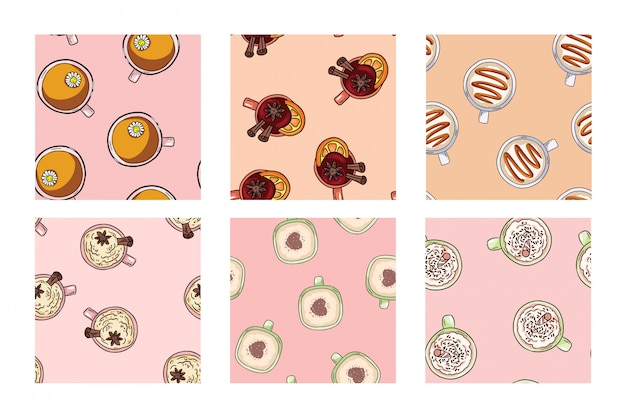 Set of cups of coffee and yummy drinks cute seamless patterns in pastel colors. texture background tile